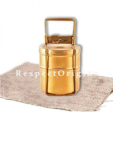 Buy Brass Picnic or Tiffin Carrier with 2 Boxes and detachable Handle At RespectOrigins.com