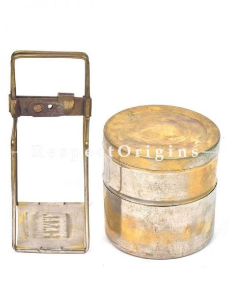 Buy Brass Picnic or Tiffin Carrier with 2 Boxes and detachable holder in Vintage Finish At RespectOrigins.com