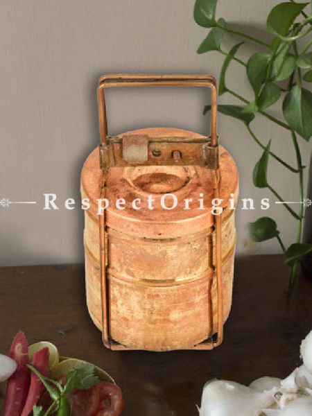 Buy Brass Picnic or Tiffin Carrier with 2 boxes With detachable holder At RespectOrigins.com