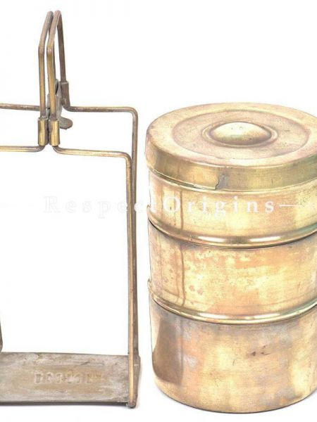 Buy Brass Picnic or Tiffin Carrier with 3 Boxes and detachable Handle At RespectOrigins.com