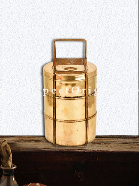Buy Adorable Antique Brass Picnic or Tiffin Carrier; 3 boxes & a detachable holder and lock At RespectOrigins.com