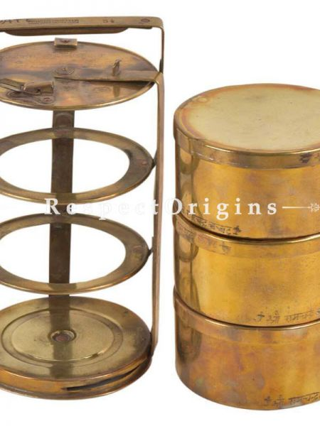 Buy Brass Picnic or Tiffin Carrier with 3 boxes With detachable holder At RespectOrigins.com
