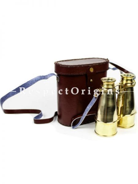 Buy 6 Inches Brass Nautical Decor Pirates Spotting Scope Brass Binocular with Genuine Handmade Leather Case; Maritime Functional Survey instrument with Bag At RespectOrigins.com