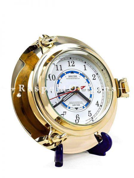 Buy Premium Shiny Lustre Brass Polished Porthole Tide Time Clock Nautical Home Decor At RespectOrigins.com