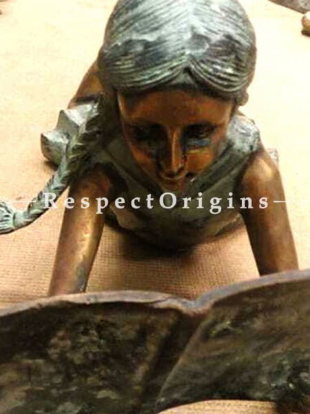 Buy Bronze Figure of a Girl Reading At RespectOrigins.com