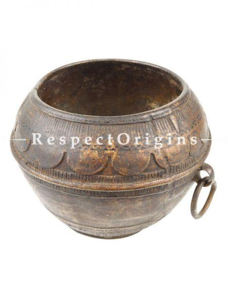 Buy Brass Rice Measurement Tribal Bowl with One Side Handle Rim At RespectOrigins.com