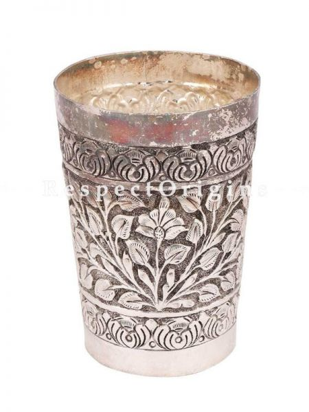 Buy Brass Silver Plated Lassi Glass With Flowers And Leaves Engraved At RespectOrigins.com