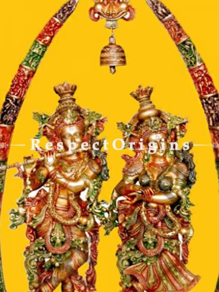Buy Antique Stone Finish Lord Radha Krishna Statue Brass 44 Inches at RespectOrigins.com