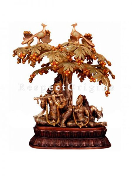 Handcrafted Radha Krishna Under Tree Statue; Brass;28 Inches