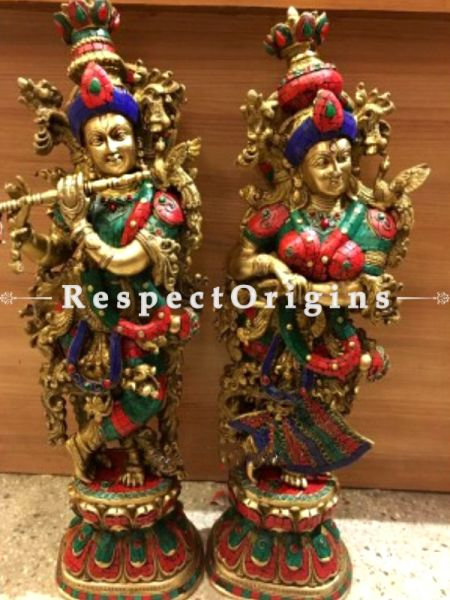 Buy Handcrafted Radha Krishna Brass Statue Multicolor Turquoise 29 Inches at RespectOrigins.com