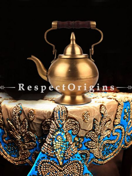 Buy Pure Brass Tea Pot With Wooden Handle and Dome Shape Lid At RespectOrigins.com
