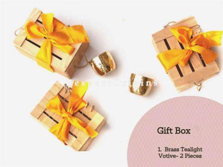 Gift Box; 1 Brass Tea Light and 2 Votive's; RespectOrigins.com