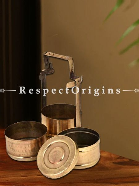 Buy Picnic or Lunch Box With 3 boxes in Brass With detachable holder At RespectOrigins.com