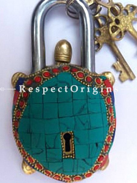 Buy Colored Tortoise Vintage Design Working Functional Lock with Keys At RespectOrigins.com