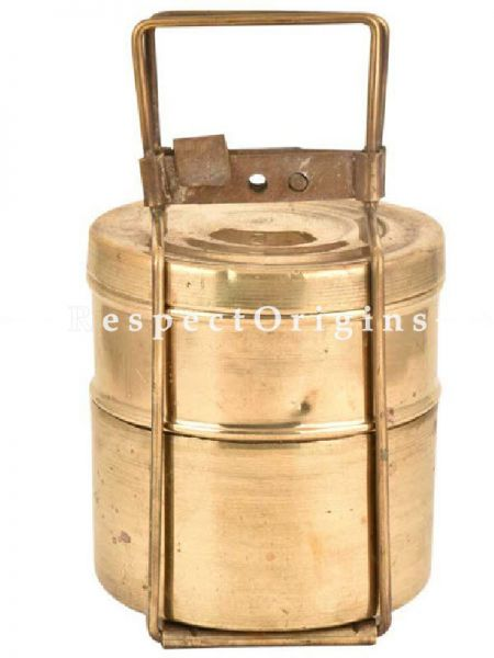 Buy Picnic or Lunch Box With 2 boxes in Brass With detachable holder At RespectOrigins.com
