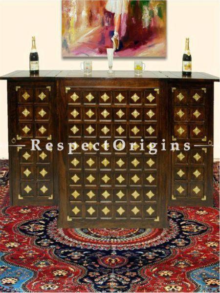 Buy Brass Work Vintage Finish Wood Carved Bar Cabinet; Brown At RespectOrigins.com