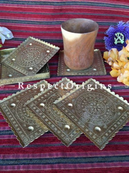 Buy Set of 6 Hammered Brass Square Tea Coasters with holder; Square; Handmade; 4.5x4.5 in At RespectOrigins.com
