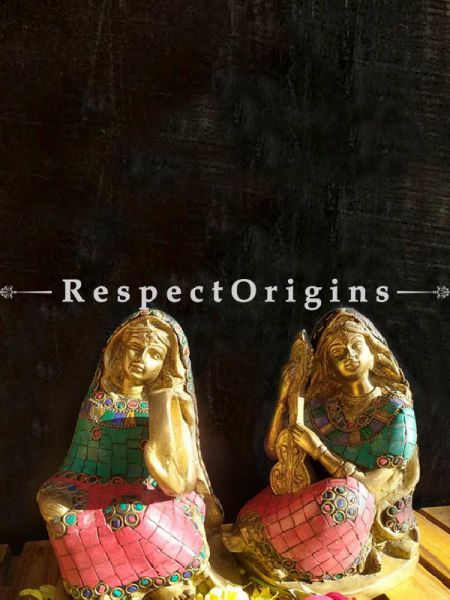 Buy Gorgeous Brass with Stonework Musicians Set of 2 At RespectOrigins.com