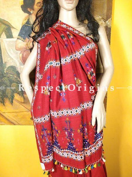 Brick Red Handloom Soof Embroidered Linen Saree Online at RespectOrigins.com