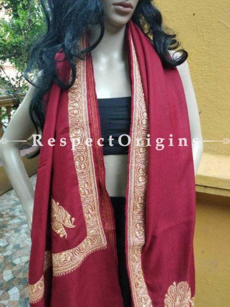 Buy Bridal Tilla Silver Embroidery Kashmiri Ladies Pashmina Shawl, 80x36 in At RespectOriigns.com