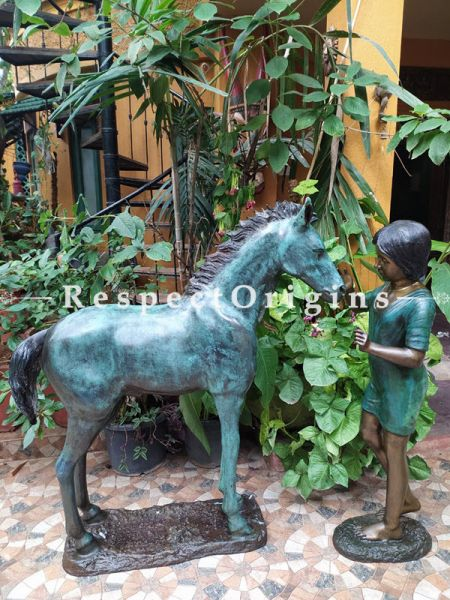 Unique Pure Bronze Statue of a Girl and her Pony Life-like & Life-size; 4 Feet at RespectOrigins.com
