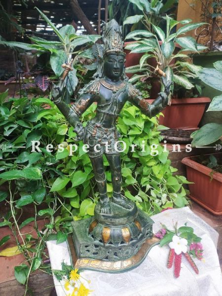 Buy Bronze Statue of Shiva with Gold Adornment in 36 inch At RespectOrigins.com