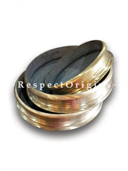 Buy Round Bronze Urli; Traditional Handcrafted Bronze Cookware; Set of 3 Available in Small, Medium and Large At RespectOrigins.com