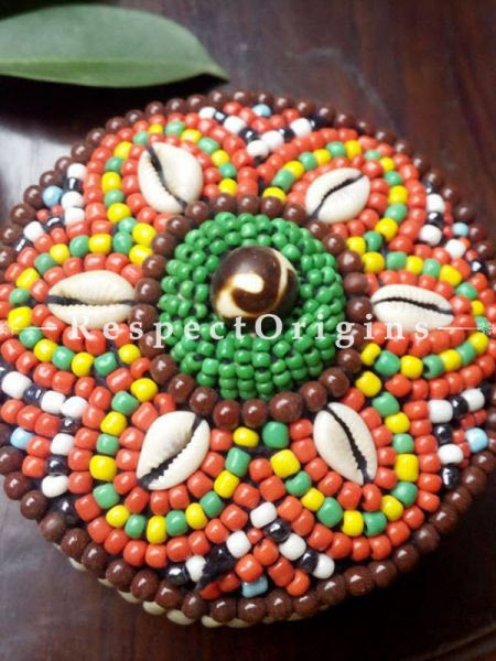Brown, orange and green Jewellery Box With Beads and Sea Shells; Ladakhi Beaded Container; Multi Colored; RespectOrigins.com