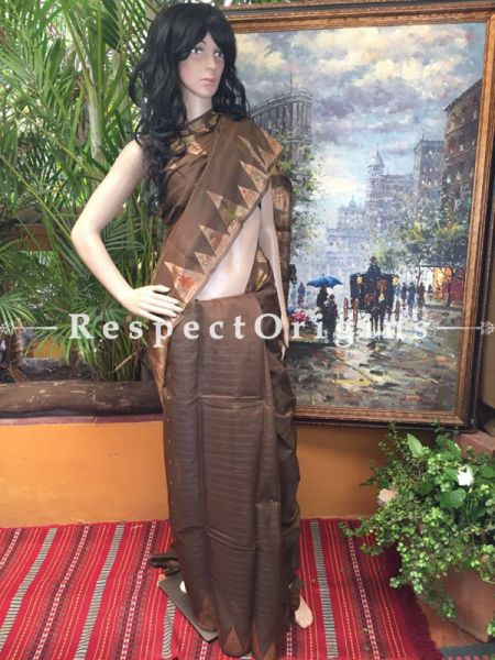 Brown Coimbatore Cotton Silk Saree; RespectOrigins.com