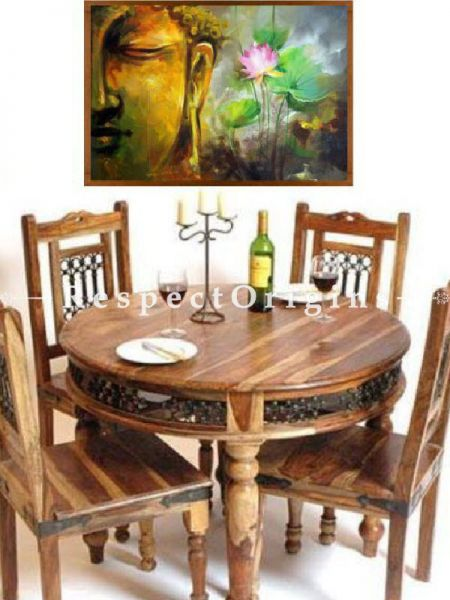 Buy AlexRound 4 Seater Dining Table; Wood with Latticework. At RespectOrigins.com