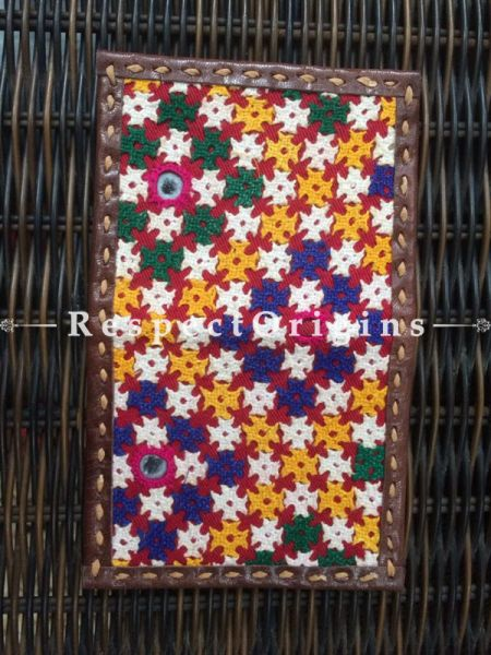 Visiting Card Holders; Genuine Handcrafted Leather; Blue, Yellow & White On Brown Kutchi Embroidery; RespectOrigins.com