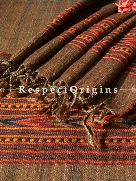 Buy Brown Hand woven Woolen Kullu Stoles From Himachal with orange border; Size 80 x 27 inches at RespectOrigins.com