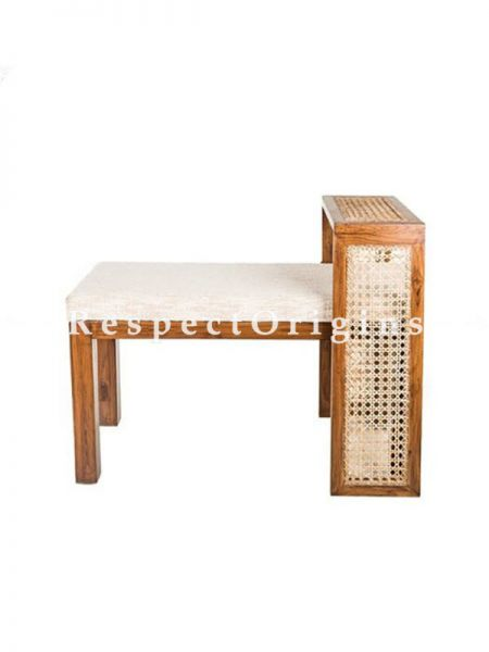 Buy Buy Brown Teak and Rattan Cane Table Bench At RespectOrigins.com