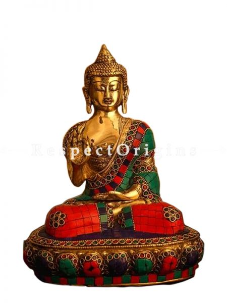 Buy  Turquoise Brass Buddha In Blessing Posture Home Decor Sculpture 10 X 7 Inches at RespectOrigins.com