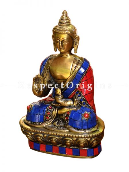 Buy Brass Blessing Buddha Figurine With Turquoise Stone Work Lotus Sitting Buddhist Statue 7 X 4.5  at RespectOrigins.com