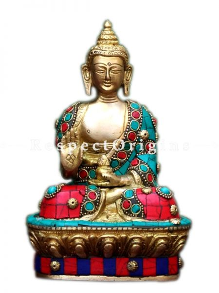 Buy Lord Buddha Idol Buddha Statue Sculpture Turquoise Stone Decorative Showpiece 7 X 4.3 Inches at RespectOrigins.com