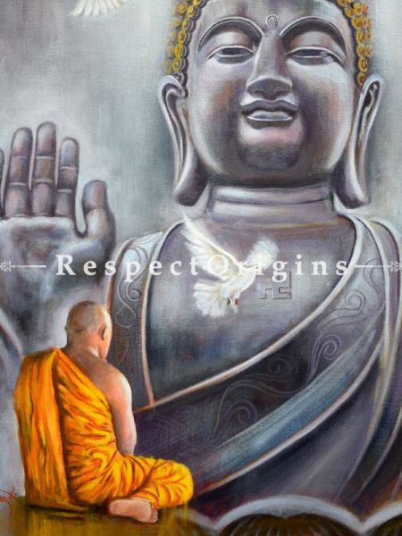 Buddha ; Acrylic on Canvas ; 24X18 In ; Horizontal Painting|RespectOrigins.com