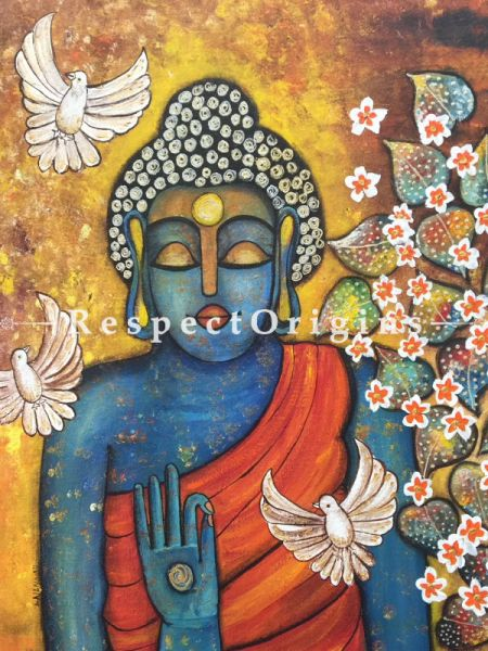 Square Art Painting of Budhha;Acrylic on Canvas; 24in X 24in at RespectOrigins.com