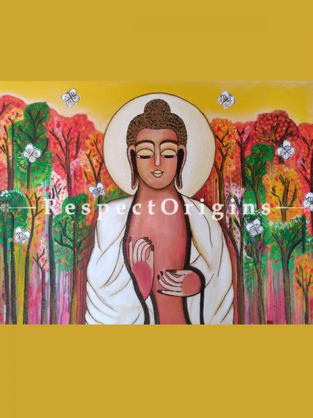 Horizontal Art Painting of Buddha ;Acrylic on Canvas; 48in X 36in at RespectOrigins.com