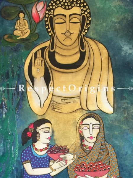 Vertical Art Painting of Buddha;Acrylic on Canvas; 28in X 56in at RespectOrigins.com