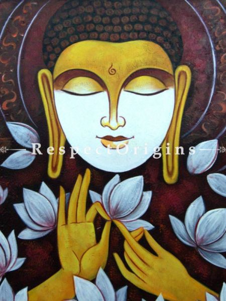 Buddha in Meditation04 Painting; Acrylic On Canvas; 36in x 24in