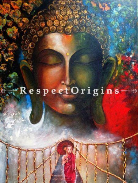 Original art|wall Arts|Large Buddha Canvas Indian Painting at RespectOrigins