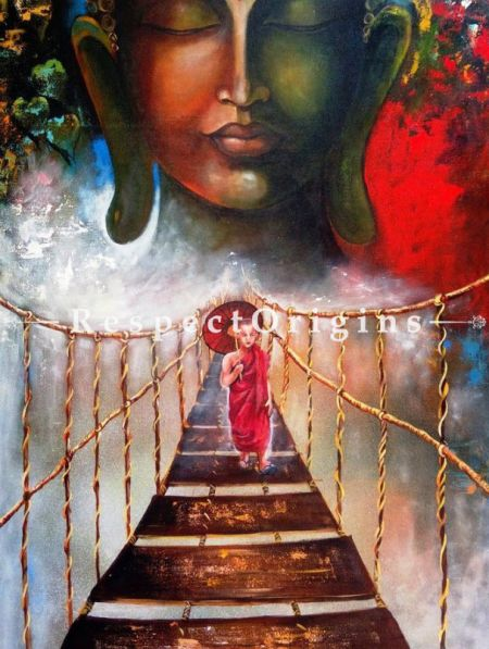 Buddha and Monk Child Painting - 33In x 60In. Acrylic On Canvas Painting by Arjun Das.