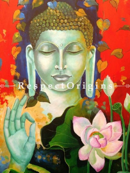 Blessing Buddha;  33In x 60In. Acrylic Painting On Canvas by Arjun Das, Original Painting.