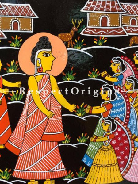 Buy Buddha Sermon; Square Tikuli Art Hand Painted Folk Wall Art; Wood; 12x12 in At RespectOrigins.com