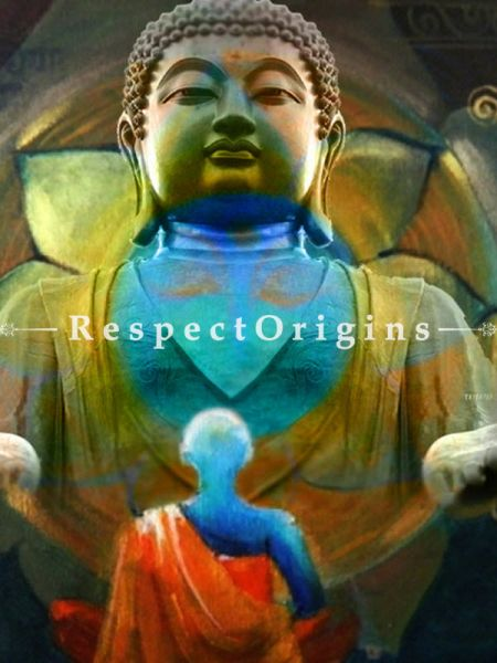 Adorable Painting of Buddha With Monk Made of Oil on Canvas  |Buy Adorable Painting of Buddha With Monk Made of Oil on Canvas   Online|RespectOrigins