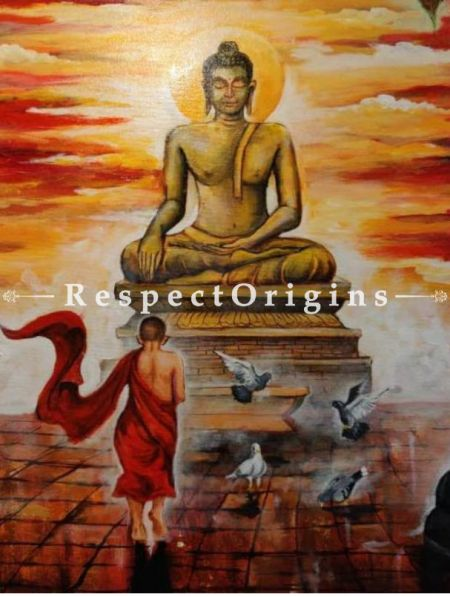 Buddha and Monk  Painting - 30In x 30In. Acrylic On Canvas Painting by Arjun Das.