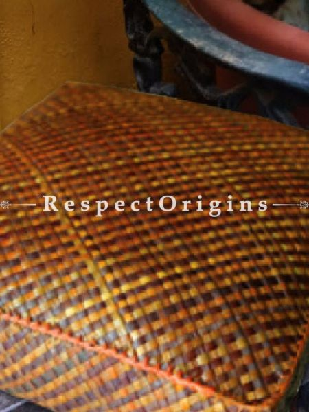 Buy Handcrafted Square Shape Floor Cushion; Screw Pine Leaf; Brown; Ecofriendly At RespectOrigins.com