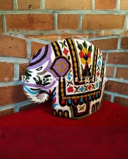 Buy Hand Chain Stitched Kashmiri Ari work Tea Cozy; Baby Elephant at RespectOrigins.com