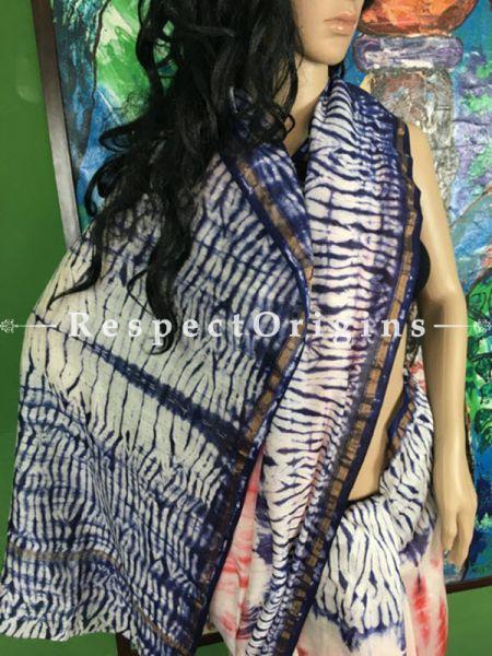 Buy Maheshwari White & Blue Silk Sarees Online, RespectOrigins